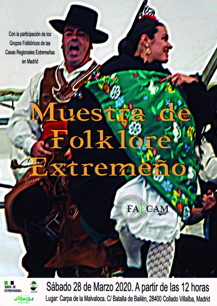 Cartel de la Muestra de folklore extremeño 2020 de FAECAM